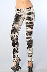 The Storm Slashed Skinny Jeans in Black Wash