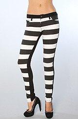 The Jail Striped Split Skinny Jeans in Black & White
