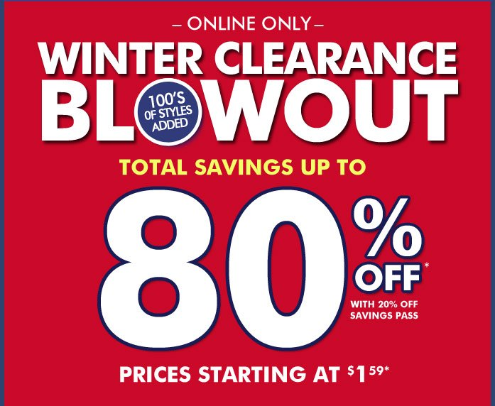 Winter Clearance Blowout!
