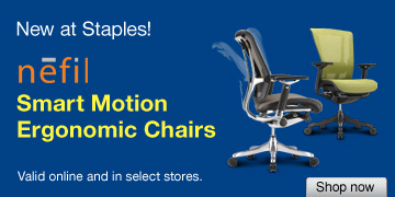 New at  Staples! nefil Smart Motion Ergonomic Chairs. Valid online and in select  stores. Shop now