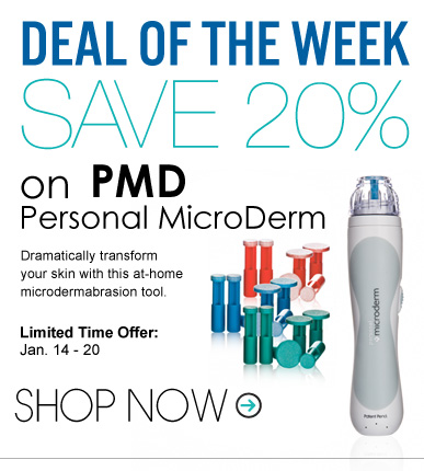 Deal of the Week: Save 20% on PMD Personal MicroDerm Dramatically transform your skin with this at-home microdermabrasion tool.  Shop Now >>