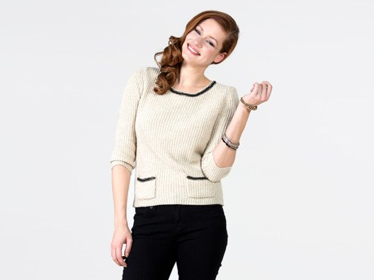 This sweater helps bring the whole outfit together, creating a look that's modern and sophisticated in one easy step.