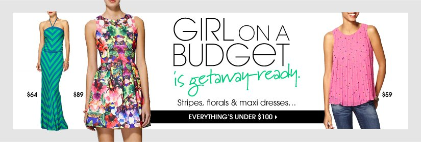 GIRL ON A BUDGET is getaway-ready. EVERYTHING'S UNDER $100