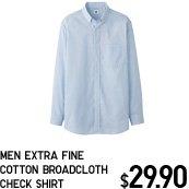 MEN EXTRA FINE COTTON BROADCLOTH CHECK SHIRT