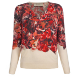 Paul Smith Knitwear - Red Collage Floral Print V-Neck Jumper