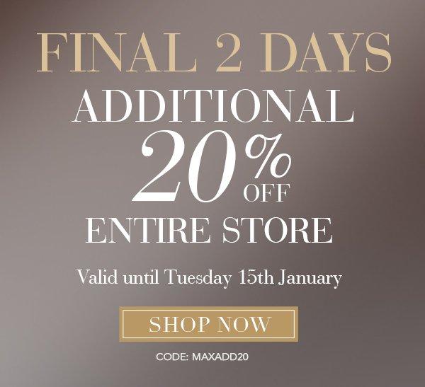 MaxStudio 20% off Entire Store Final 2 Days