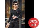 V-Neck Faux-Leather Trim T-Shirt