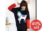 Color-Block Horse Print Pullover
