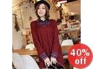 Inset Plaid Shirt Knit Top