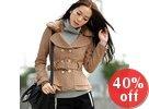 Faux Fur Collar Wool Blend Coat