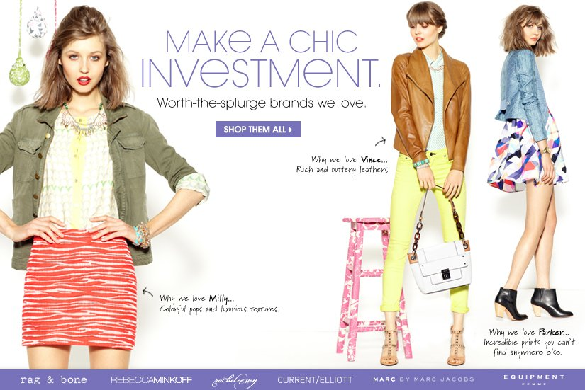 MAKE A CHIC INVESTMENT. SHOP THEM ALL