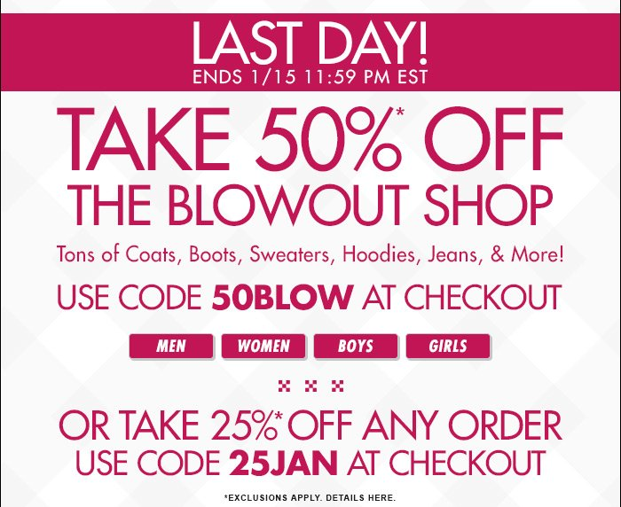 DrJays.com Take 50% Off The Blowout Shop With Promo Code.