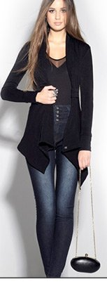 Tab Neck Waterfall Cardigan