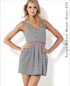 Stripe Belted Skater Dress