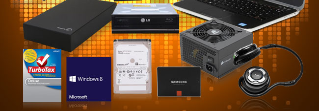 HDD, ODD, PSU, Turbotax, Win8, SSD, Headphone