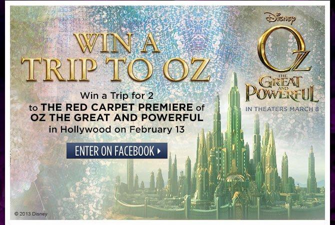 Win A Trip To Oz - Enter On Facebook >