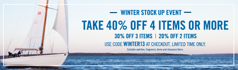 WINTER STOCK UP EVENT! Take 40% off 4 items or more!