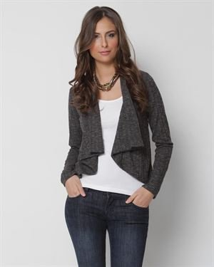 Color Me Black Knit Asymmetrical Cardigan- Made in USA