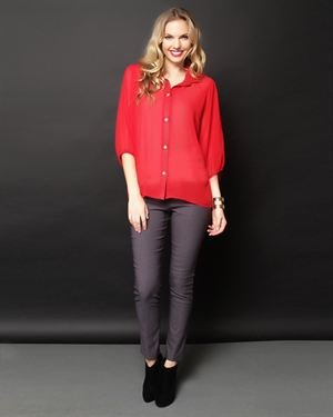 Everly Sheer Button-Up Shirt $25