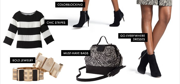 Colorblocking Chic Stripes Must–Have Bags Bold Jewelry  Go–Everywhere Dresses