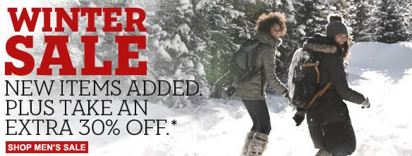 Winter sale. New items added. Plus take an extra 30% off.* Shop Men's Sale