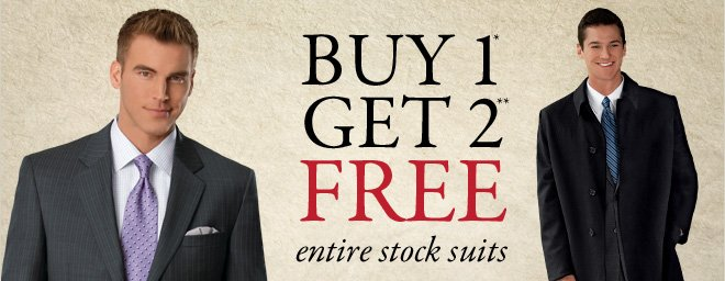 Buy 1* Get 2** FREE entire stock suits