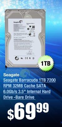 "Seagate Barracuda 1TB 7200 RPM 32MB Cache SATA 6.0Gb/s 3.5"" Internal Hard Drive -Bare Drive"