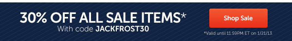 30% off all sale items with code JACKFROST30