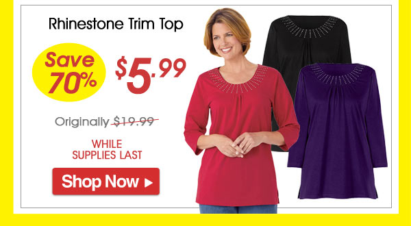 Rhinestone Trim Top - Save 70% - Now Only $5.99 Limited Time Offer