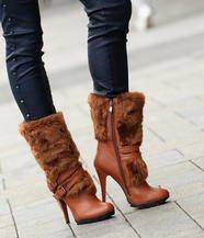 Faux Fur Trim Belted Boots