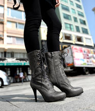 Lace Up High-Heel Boots