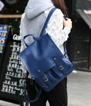 Buckled Faux Leather Backpack