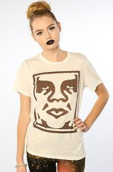 The Obey Cheetah Icon Face Tee in Dusty Light Gray (Exclusive)