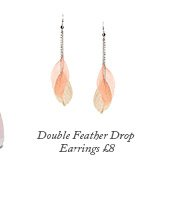 Double Feather Drop Earrings