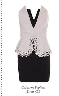 Cutwork Peplum Dress