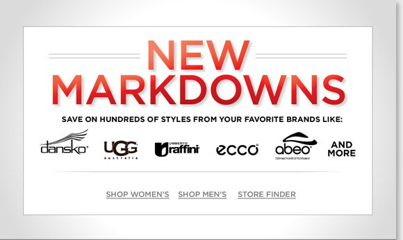 Find new markdowns and save on 100's of styles from UGG® Australia, Dansko, ABEO, ECCO, Raffini, and more of your favorite brands! Plus, ALL Clearance items are an extra 25% off this holiday weekend! Shop now to find great styles and the best selection online and in-stores at The Walking Company.