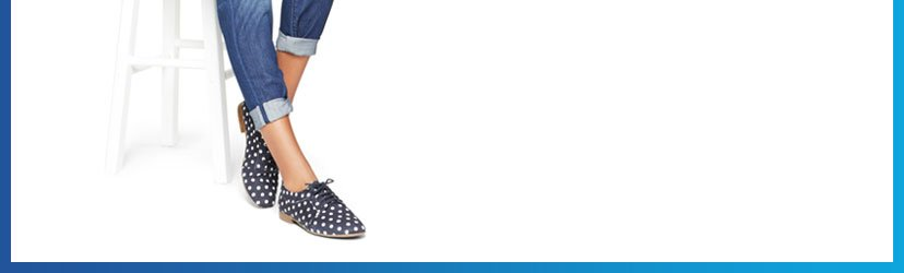 Try our new ultra skinny pant in adorable dot print. Perfect with commuter-friendly velvet loafers.