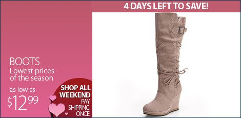 Boots - Lowest Prices of the Season $12.99