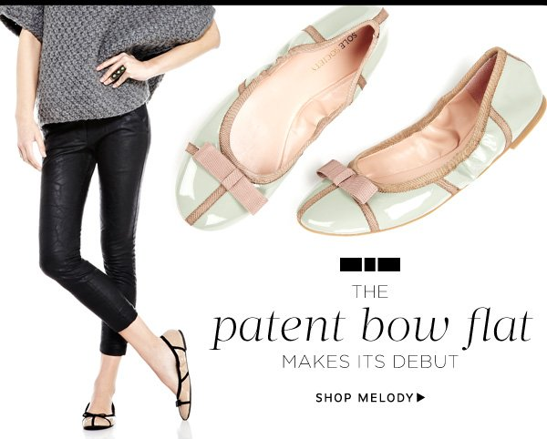 The patent bow flat makes its debut. Shop Melody