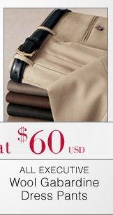 Executive Wool Gabardine Dress Pants