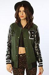 The Nothin' Like You Varsity Jacket in Green Gray Combo