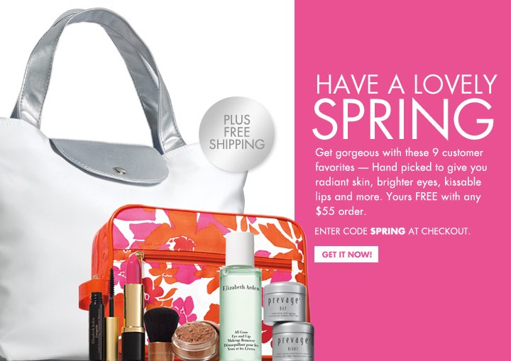 HAVE A LOVELY SPRING. Get gorgeous with these 9 customer favorites - Hand picked to give you radiant skin, brighter eyes, kissable lips and more. Yours FREE with  any $55 order. ENTER CODE SPRING AT CHECKOUT. PLUS FREE SHIPPING. GET IT NOW!