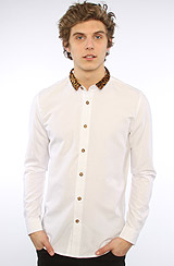 The Contrast Mini Collar Shirt in White & Brown Leopard
