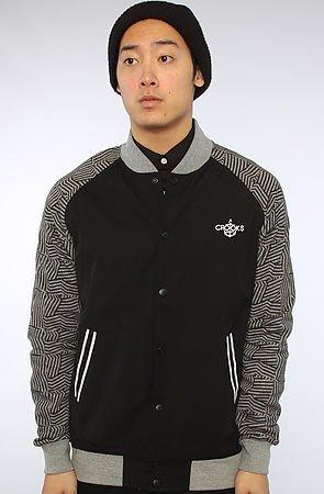 The Wavy Crooks Woven Baseball Jacket in Black