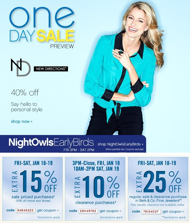 One Day Sale. 40% off ND® New Directions. Extra 15% or 10% off. Get coupon.