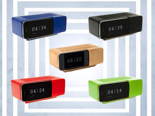 This alarm clock features a dock that fits an iPhone or iPod touch—genius!