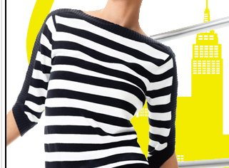 Show your stripes. Black and white share the spotlight in our new collections.