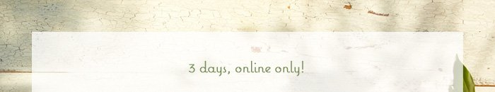 3 days, online only!