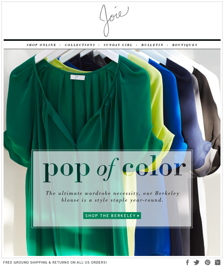 pop of color The ultimate wardrobe necessity, our Berkeley blouse is a style staple year-round. SHOP THE BERKELEY>