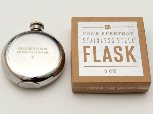 Get inspired for a night on the town with a flask that's as witty as it is practical.